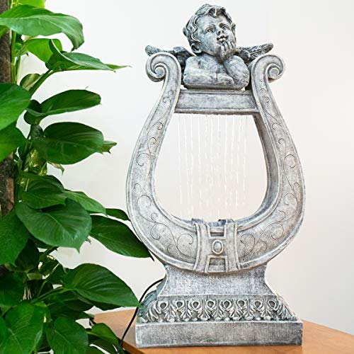 CYA-DECOR Angel Waterfall Fountain, Cascading Water Fountains with LED Lights, 32 Inches Height