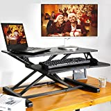 Standing Desk with Height Adjustable, 35 Inch Stand Up Desk Converter, Quick Sit to Stand Ergonomic Tabletop Workstation Riser, Black
