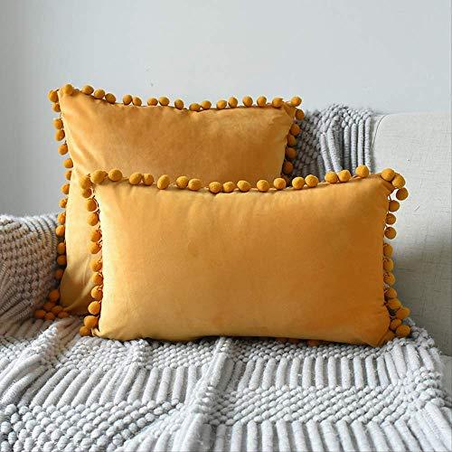 Funda de cojín rectangular de tela para sofá con forma de bola y bola de pelo de terciopelo para sofá o cojín rectangular de 30 x 50 cm con núcleo naranja