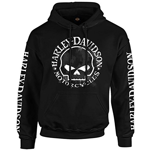 HARLEY-DAVIDSON Military Men's Hooded Pullover Sweatshirt - Handmade Willie | Overseas Tour 2X Black