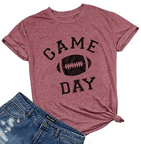 Game Day Football T Shirt for Women Football Season Graphic Shirt Tee Top Letter Print Short Sleeve Casual Tshirt (Medium, Red)