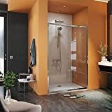 Mampara de ducha frontal 1 fijo + 1 puerta corredera (Concept Series) (130 cm (129-133), Transparente/Plata)