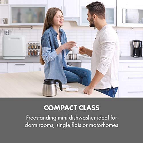 Klarstein Aquatica Mini Dishwasher – A, 125 kWh/Year, 2 Place Settings, Freestanding, Installation-Free, 360 ° Wash, 3…