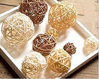 UgyDuky 18pcs/lot Mixed 3 Colors Rattan wicker balls Vase Fillers for Wedding Party Christmas decoration, Assorted Three Size(3cm/5cm/7cm)