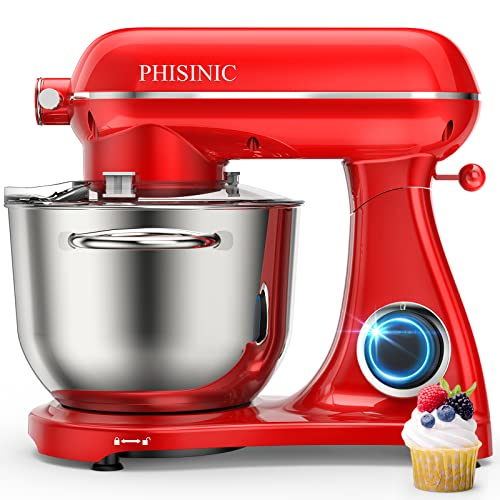 PHISINIC Stand Mixer, 800W 6.5QT Household Stand Mixers, 6 Speed Tilt-Head Food Dough Mixer, Kitchen Electric Stand Mixer with...