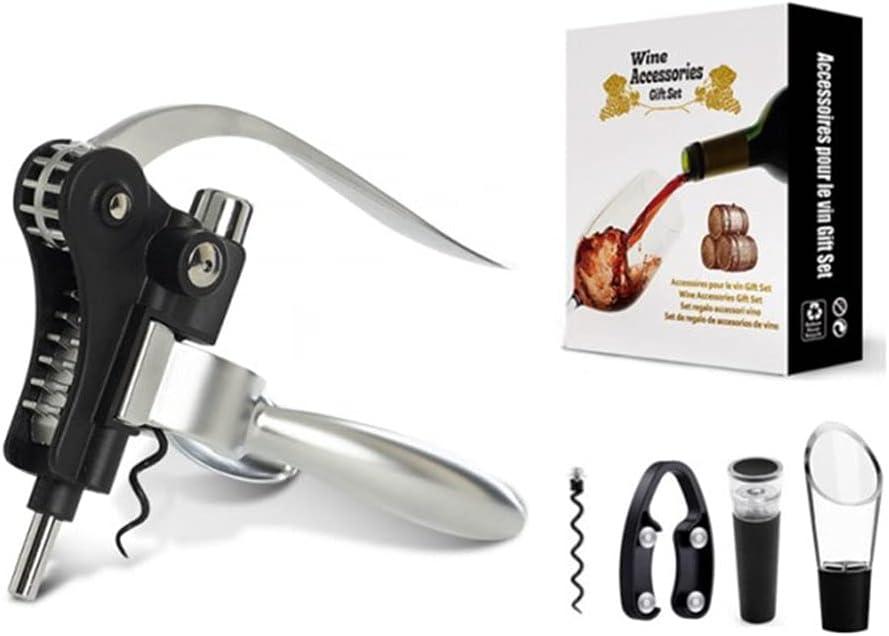 Greatangle-UK Cabeza de conejo Abridor de botellas de vino Juego de sacacorchos Kit de abridor de vino con cortador de papel de aluminio Tapón de vino y aguja en espiral adicional Caja blanca plateada