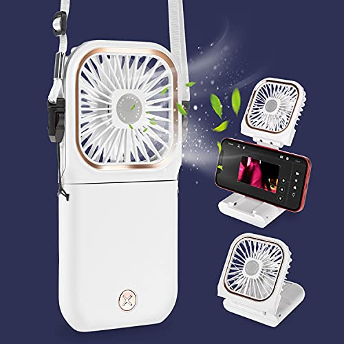 FEYON 5 IN 1 Mini Portable Fan, USB Rechargeable 3 Speeds Necklace Fan, Power Bank, Quiet Desk Fan with Cell Phone Stand, Indoor Outdoor Small Personal Fan (White)