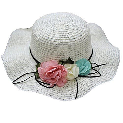 Looekveoyi - Sombrero de Playa para niños (48 a 52 cm), diseño de Flores, Color Blanco, tamaño Talla única