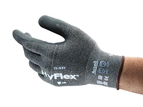 HyFlex Ansell 11-531 / 11 Schnittschutz-Handschuhe, Mechanikschutz, Größe 11, Grau (12 Paar pro Beutel)