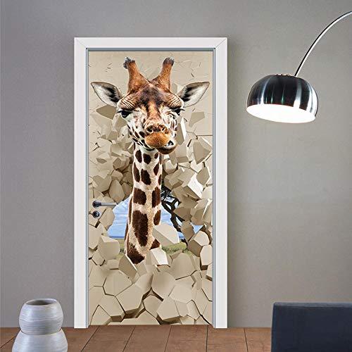 Agujero de pared jirafa Ilustración tridimensional decoración visual día de fiesta calcomanía papel pintado regalo bricolaje etiqueta de la pared mural hogar 80X200CM