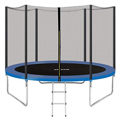 AMGYM Trampolin Gartentrampolin 244 cm Sports Outdoor Komplettset inklusive mit Sicherheitsnetz, Leiter, Randabdeckung & Zubehör Kindertrampolin Belastbarkeit 200 kg TÜV GS EN71 Zertifiziert …