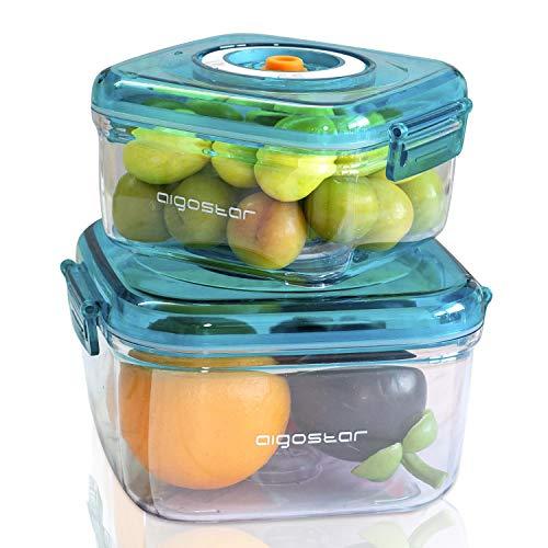 Aigostar - Recipientes para envasar al vacío. Conservación y almacenamiento de alimentos. Pack de 2 unidades de distintos tamaños, material duradero de grado alimentario. Color azul