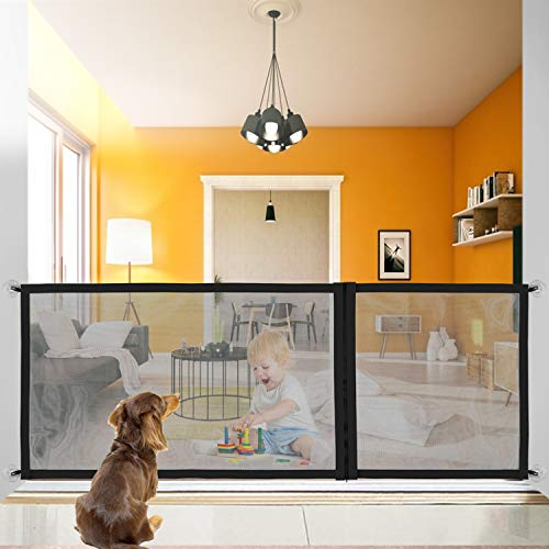 Dog Magic Gate Upgraded Pet Safety Gate Zip Design Adjustable in 3 sizes709quot/433quot/276quot Portable Folding Mesh ExtraWide Magic Guard with HeavyDuty Magic Tape Easy Install Anywhere