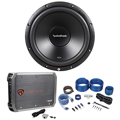 "Rockford Fosgate R2D2-12 12"" 250W DVC 2-Ohm Car Sub+500W RMS Amplifier+Amp Kit"
