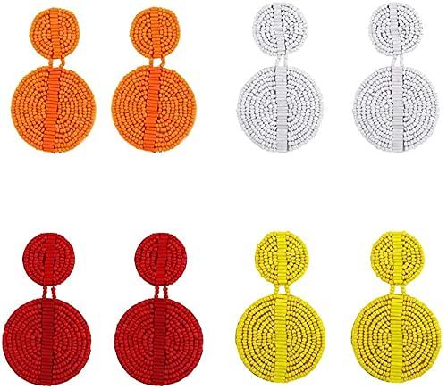 4 pares de turnos con cuentas pendientes de gota de manera cuelga la lámpara de decoración simple del oído GIAOYAO