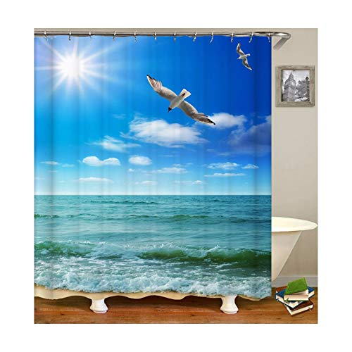 Daesar Polyester-Stoff 3D Vintage Duschvorhang 120x180 Strand Vögel Anti-Schimmel Duschvorhang