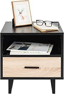 1 Drawer Two-Tier Bedside Cabinet Night Table Black