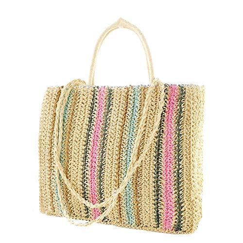 TO TO Damen Strandtaschen mit Spitzen-Quasten Stroh Gewebte Casual Elegant Sommer Einkaufen Totes Urlaub Handtaschens