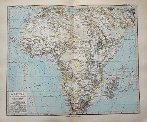 African Continent Cape Colony Transvaal Egypt Morocco 1884 Stieler detailed map