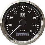KUS Jauge tachymétrique universelle avec compteur d'heures 8000 tr / min pour moteur à essence 85mm 12V/24V avec rétroéclairage (noir)