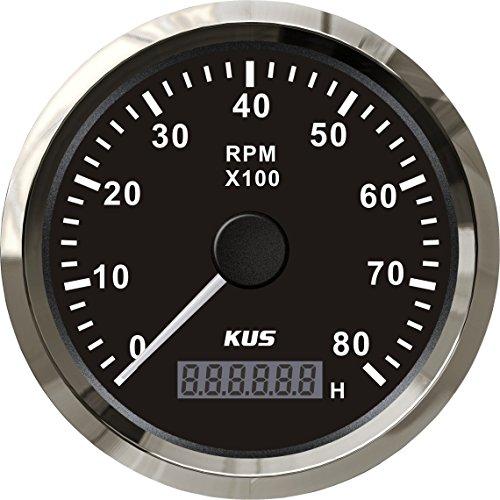 KUS Universal Drehzahlmesser Drehzahlmesser Mit Betriebsstundenzähler 8000 RPM Für Benzinmotor 85mm 12 V / 24 V Mit Hintergrundbeleuchtung (Schwarz)
