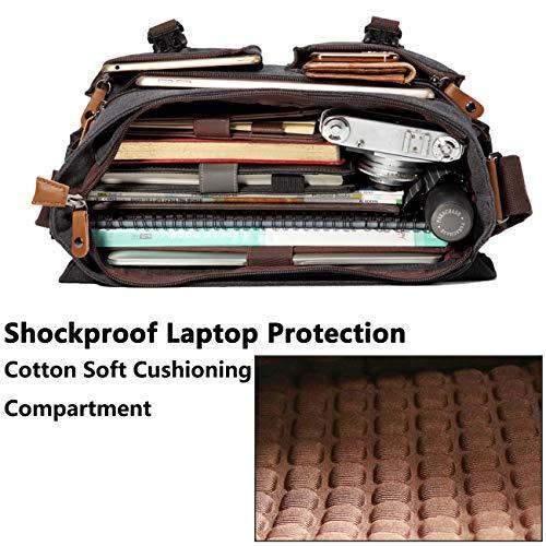 VASCHY Umhängetaschen Herren, Vintage Wasserabweisend Gewachste Leinwand 14 Zoll Laptop Aktentasche Schultertasche Laptop-Taschen mit Gepolstertem Schultergurt(Dunkelgrau)