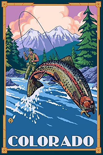 Colorado - Angler Fly Fishing Scene (Leaping Trout) (12x18 Art Print, Wall Decor Travel Poster)
