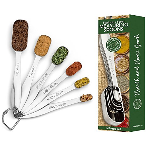 Measuring Spoons - Accurately Measure Liquid and Dry Ingredients With Our Stainless Steel Metal, 6 Piece Set - Enjoy Baking and Cooking Food in Your Kitchen - Hearth and Home Goods
