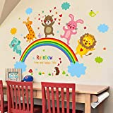 Dibujos animados león oso animal etiqueta de la pared arco iris nube mural calcomanía habitación de los niños habitación del bebé decorativo etiqueta de la pared papel pintado mural90cmX60cm