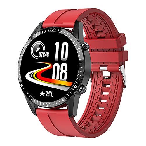 LYB Para Blackview BV9800 BV9700Pro BV9100 BV6100 BV5800 BV6800 Pro Reloj Inteligente Bluetooth Llamada Teléfono Smartwatch Frecuencia Cardíaca Hombres Deportes (Color: TPU Rojo)