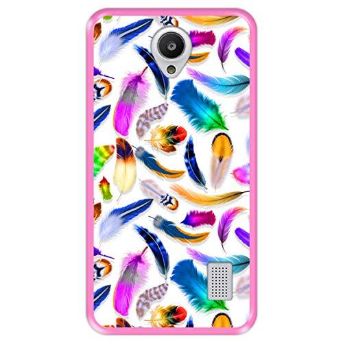 Custodia per [ Huawei Y635 ] Disegni [ Piume Colorate Multiple ] Cover Guscio in Silicone Flessibile Rosa TPU