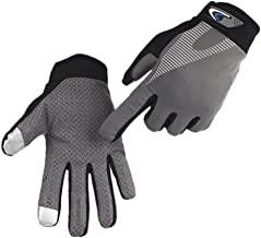 DALUCI Touchscreen Cycling Gloves Elastic Anti-Slip Ultralight Motorcycle Bicycle Bike Sports Gloves (Grey, M)