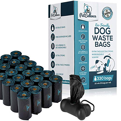 PetCellence Hundekotbeutel Biologisch Abbaubar, 330 Kotbeutel für Hunde mit Beutelspender, Auslaufsicher, Duftend, Extra Dick und Extra Stark, Umweltfreundlich