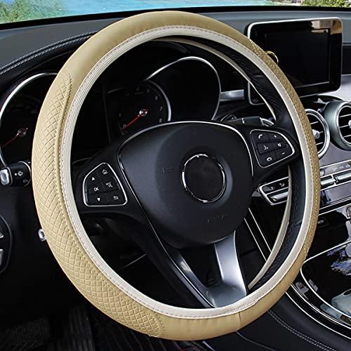 Leather Car Steering Wheel Cover, Elastic, Breathable Anti-Slip,...