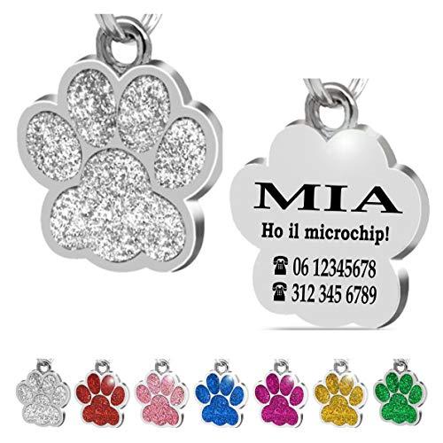 Iberiagifts - Zampa in Acciaio Targhetta Medaglietta identificativa Personalizzata per Collare Cane Gatto Animale Domestico con incisione (Argento)