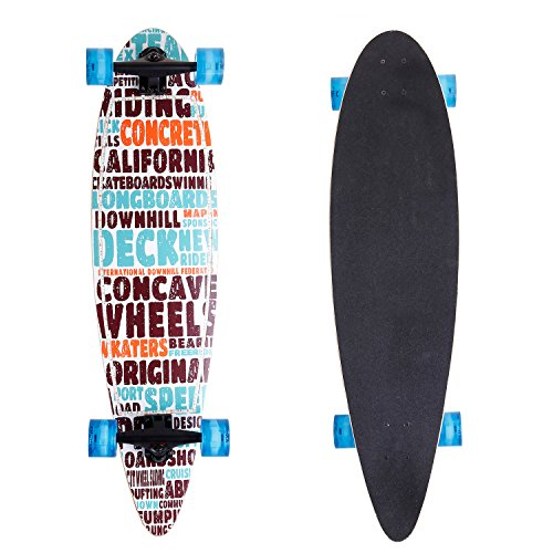 ANCHEER 40' Longboard Pintail Cruising Style Complete Long Skateboard for Adult Teens and Kids Age 8 Up