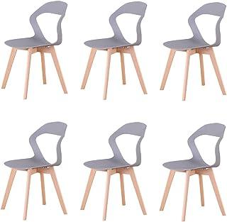 N/A juego de 6 modernas sillas de plástico de estilo nórdico en una variedad de colores para uso en salones, comedores, oficinas, salas de reuniones y comedores (gris-6)