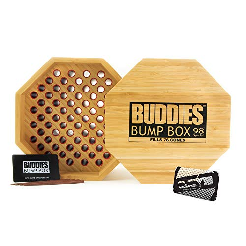 Buddies Bump Box Filler for 98 Special Sized Cones   Fills up to 76 Cones Simultaneously   Time Efficient Bulk Cone Packing Wood Box with an ESD Scooping Card