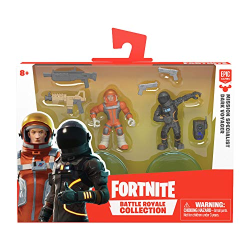 Fortnite 63540 B07PKRZKD3 Battle Royale Collection, Duo Figurenset Mission Specialist & Dark Voyager, Actionfiguren aus dem beliebten Epic-Game, mit Waffen und Ständer, Mehrfarbig