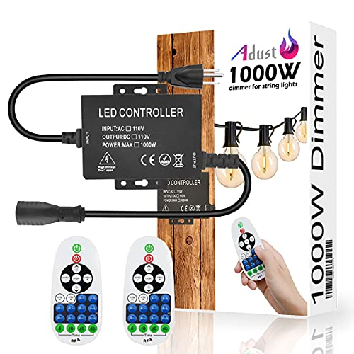 Adust 1000W 110V Light String Remote Plug-in Dimmer - AC 110V 1000W Outdoor String Lights Bulbs Switch, Wireless Remote Control Dimmer, 3 Prong Outlet, Timer Switch, Waterproof IP 65