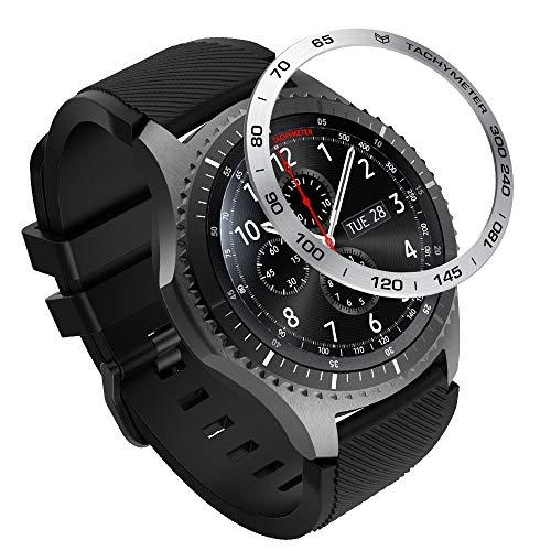 MoKo Ghiara Orologio in Acciaio Compatibile con Samsung Galaxy Watch 46mm/Gear S3 Frontier/Gear S3 Classic, Smart Watch Bezel con Numeri Secondi Incisi, Protezione Quadrante - Nero + Argento