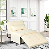 Chaise Lounge Folding Ottoman Sofa Bed Sleeper Chair Lounger Convertible Chair 4 in 1 Multi-Function Adjustable Sleeper Sofa Chair for Living Room Bedroom (Beige)