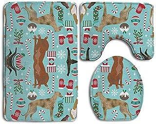 Bestauseller Greyhound Christmas Dogs 3 Piece Bath Mat Set Pedestal Lid Toilet Cover Rug Bath Mat