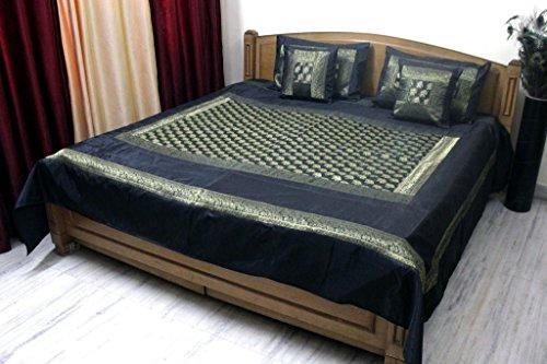 Stylo cultura colcha doble Reina Polydupion elefante negro brocado juego de funda de ropa de cama