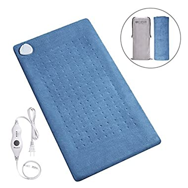 MARNUR XL Electric Heating Pad with Fast-Heating Technology, 3 Heat Settings, Soft Plush and Storage Bag, Heat Therapy for Neck/Shoulder/Back Pain Relief and Refreshment (Dark Blue) - 12 x24