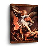 St. Michael The Archangel by Reni Good Vs Evil Canvas Picture Painting Artwork Wall Art Poto Framed Canvas Prints for Bedroom Living Room Home Decoration, Ready to Hanging 8'x12'
