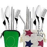FineGood Besteck-Set aus Edelstahl mit Messer, Gabel, Löffel, Essstäbchen, Strohhalme, tragbares Geschirr mit Tragetaschen, für Reisen, Camping, Picknick,...