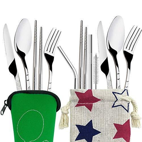 FineGood Juego de 2 (11 piezas) de cubiertos de acero inoxidable, cuchillo tenedor, cuchara, palillos y pajitas, vajilla portátil con fundas de transporte