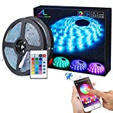 Bluetooth LED Streifen, ALED LIGHT 10M (2x5m) 32,8Ft Wasserdicht IP65 RGB 5050 300(2x150) LED...