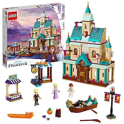 LEGO DisneyFrozenII IlvillaggiodelCastellodiArendelle con Mini-doll della Principessa Anna, Elsa e Kristoff,Mercato e Barca a Remi,Gatto e 2 Uccelli,Set di Costruzioni per Bambini, 41167